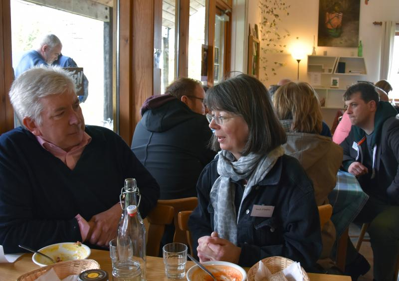 Discussions over lunch in the Food of the Arts Cafe
